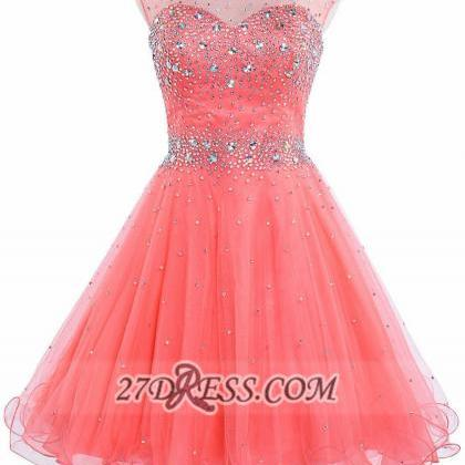 A Line Watermelon Homecoming Dresse..