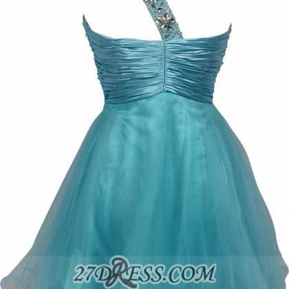 A Line Blue Homecoming Dresses Zipp..