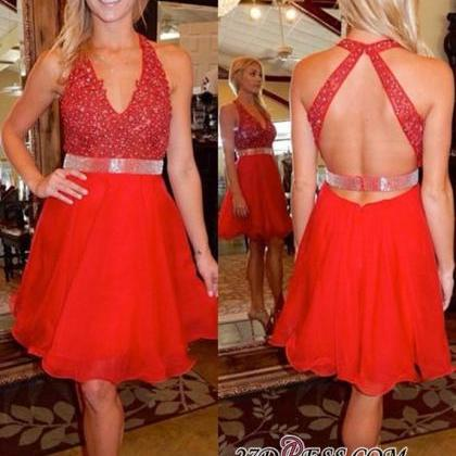 A Line Red Homecoming Dresses Criss..