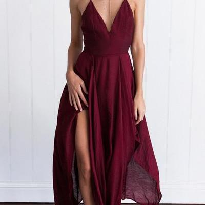 Sexy Straps V-neck Long Burgundy Ch..