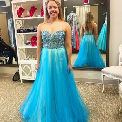 Blue Prom Dresses 2017 Sleeveless S..