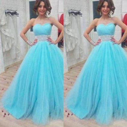 Blue Beading Sweetheart Ball Gown T..