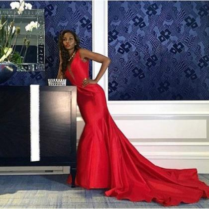 Red Deep V-Neck Mermaid Satin Prom ..