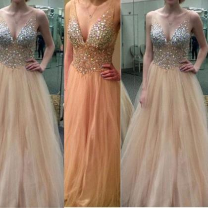 Long Princess V-Neck Sequins Tulle ..