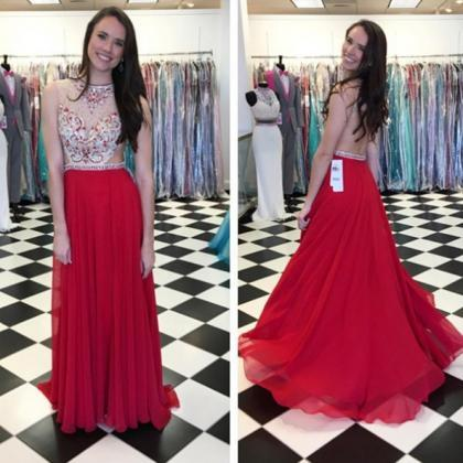 Red Beading A-line Chiffon Prom Dre..