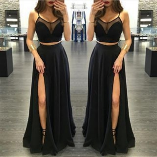 Black Spaghetti Straps High-Slit Ch..