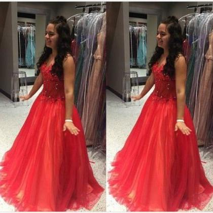 Red Beading Sleeveless Ball Gown Tu..