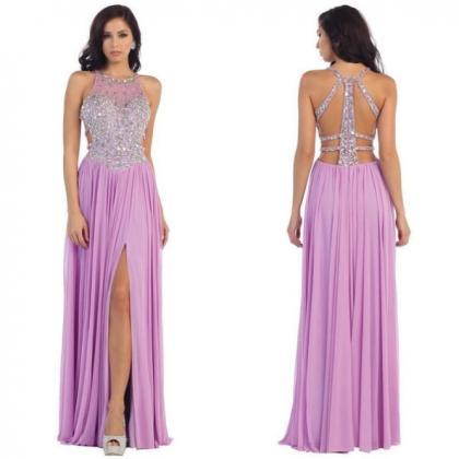 Beading Jewel Neck Front-Slit Chiff..