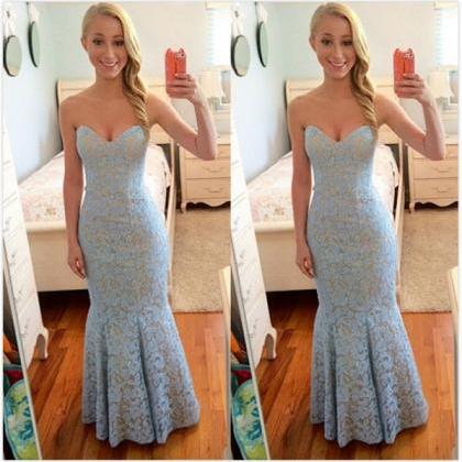 Blue Sweetheart Mermaid Lace Prom D..