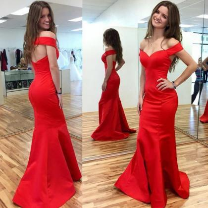 Red Off-the-Shoulder Mermaid Satin ..