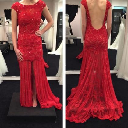 Red Backless Lace Appliques Prom Dr..