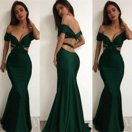Sexy Off-the-Shoulder Trumpet Satin..