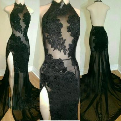 Black Illusion Appliques Mermaid Tu..