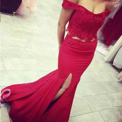 Red Beading Appliques Off-the-Shoul..