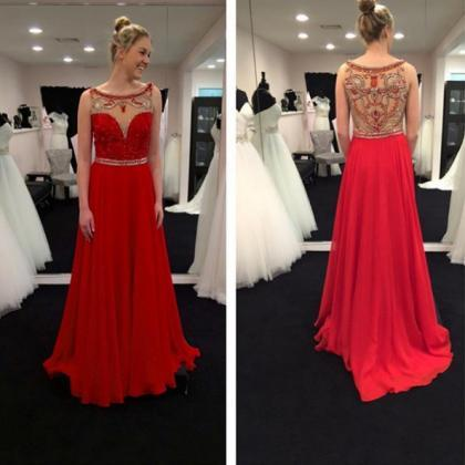 Red Sheer Beaded Back Chiffon Prom ..