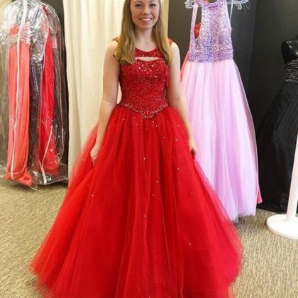 Red Prom Dresses 2017 Round Neck Be..