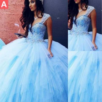 Blue Queen Anne Ball Gown Tulle Pro..