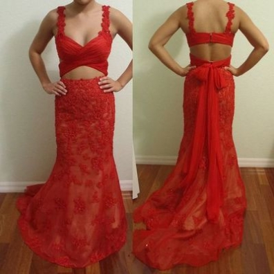 Red Ruching Bow Straps Lace Prom Dr..