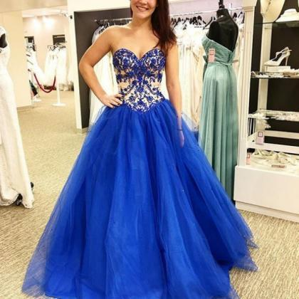 Blue Prom Dresses 2017 Sweetheart A..