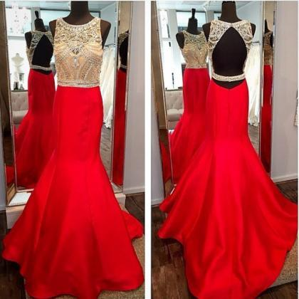 Red Crystal Backless Mermaid Prom D..