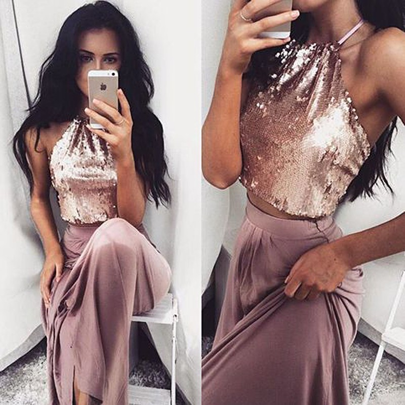 A Line Same as the picture Homecoming Dresses Zippers Sleeveless Sequined Haltered Floor Length Homecoming Dress