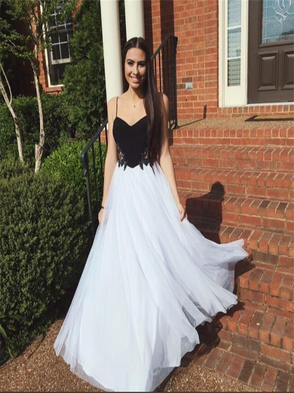 A Line Black and White Homecoming Dresses Hollow Spaghetti Strap Tulle Spaghetti Straps Floor Length Homecoming Dress