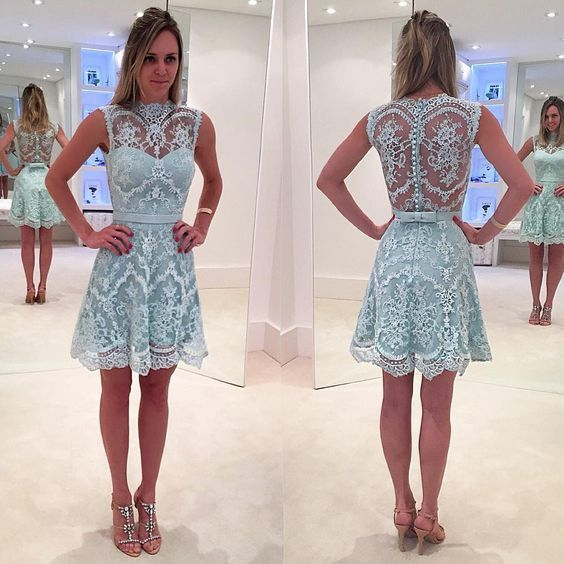 A lines Sky Blue Homecoming Dresses Appliques Sleeveless Lace O-neck Above-Knee Homecoming Dress