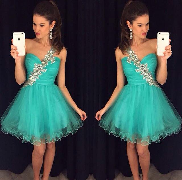 A-Line/Column Sky Blue Homecoming Dresses Zipper-Up Sleeveless Appliqued One shoulder Mini Homecoming Dress