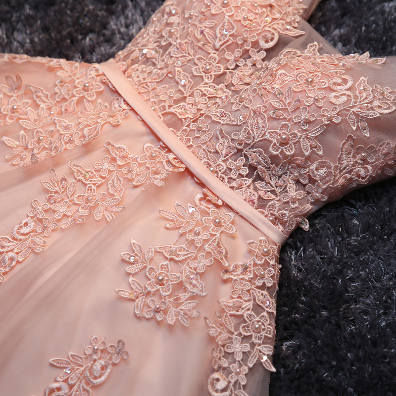 Princess Lace Appliqued Tulle Homecoming Dress,Blush Pink Short Bridesmaid Dresses,Short Prom Dress,PD2277 on Storenvy