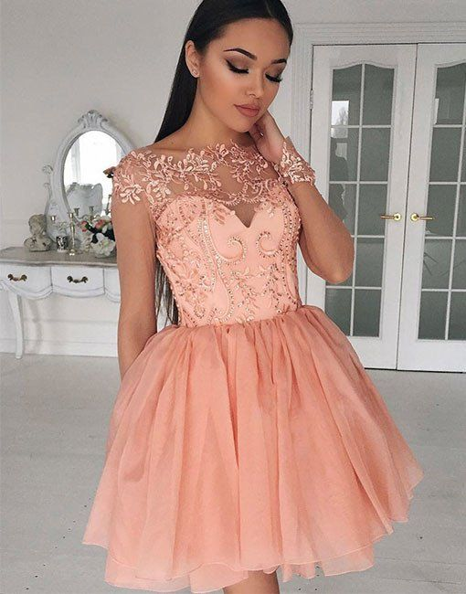 Blush Pink Homecoming Dresses,Applique Prom Dress,Fashion Homecoming  Dress,Sexy Party Dress,Custom M On Luulla