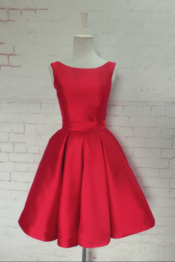 Bateau Satin Knee-Length Red Homecoming Dress with Bowknot