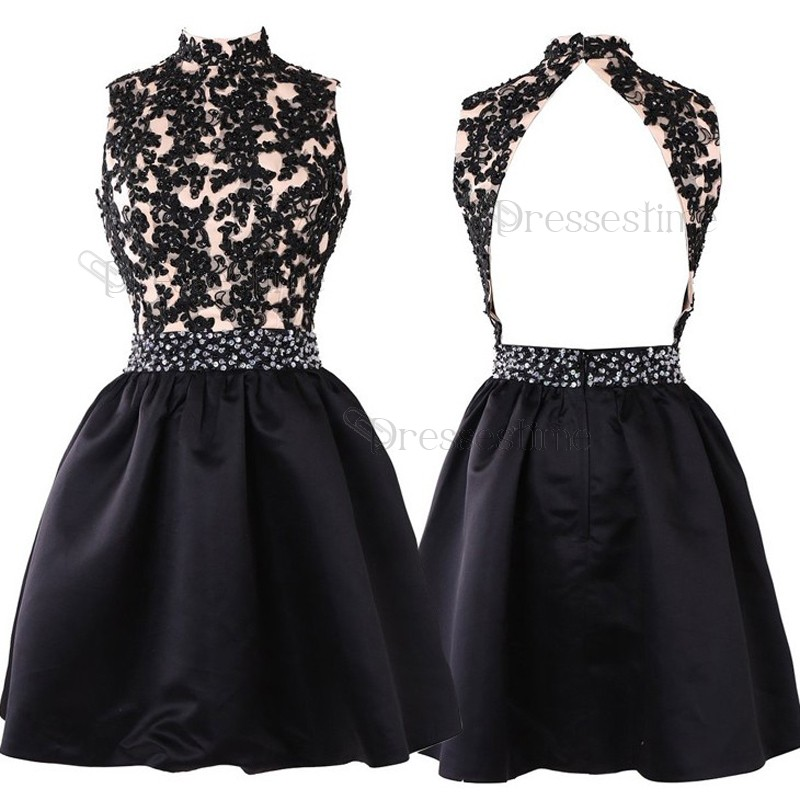 A-Line High Neck Open Back Black Satin Short Homecoming Dress with Appliques Beading