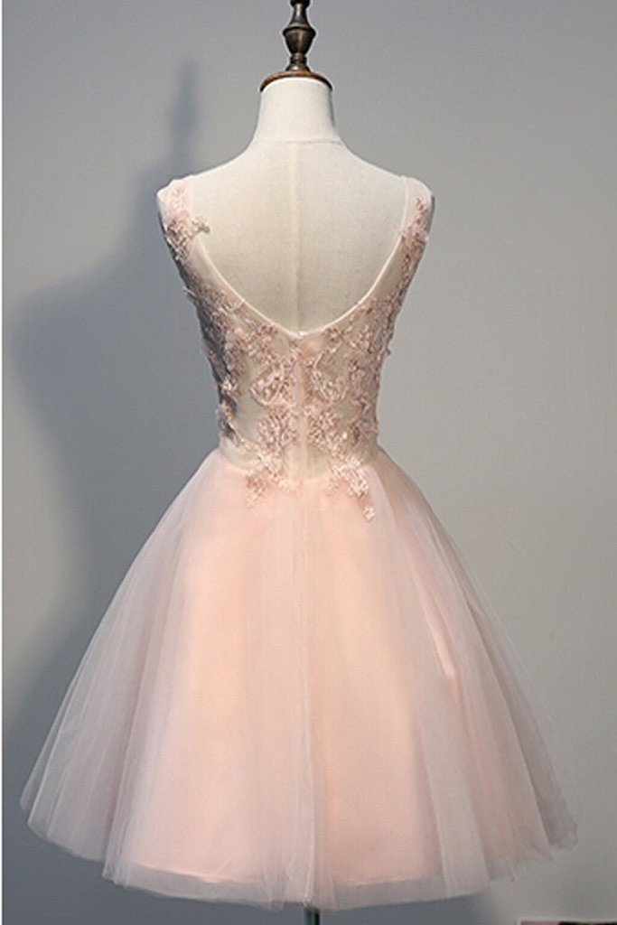 e2d903100c13 Blush Pink Lace Beaded Backless V-neck Sweet 16 Cocktail Dress Homecoming  Dresses