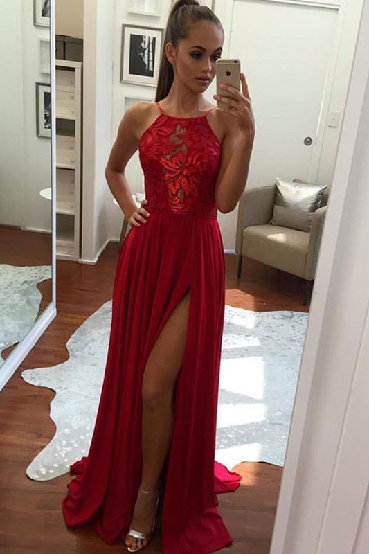 Unique Prom Dresses,A-Line Prom Dress,Halter Prom Dresses,Split-Front Prom Gown,Chiffon Long Evening on Luulla