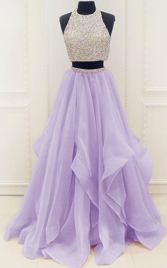 dd8303a97b46 Elegant Homecoming Dress,Long Beaded Prom Dress,Sleeveless Two Piece Prom  Dresses,Sexy Prom Gown,Evening Party Dress 107 on Storenvy