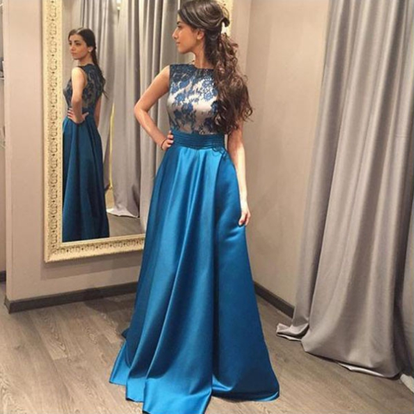 Blue Appliques Sleeveless A-line Satin Prom Dresses 2017