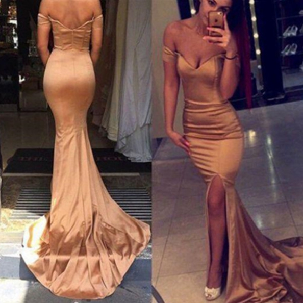 Sexy Trumpet/Mermaid Off-the-Shoulder Split Front Prom Dresses 2017