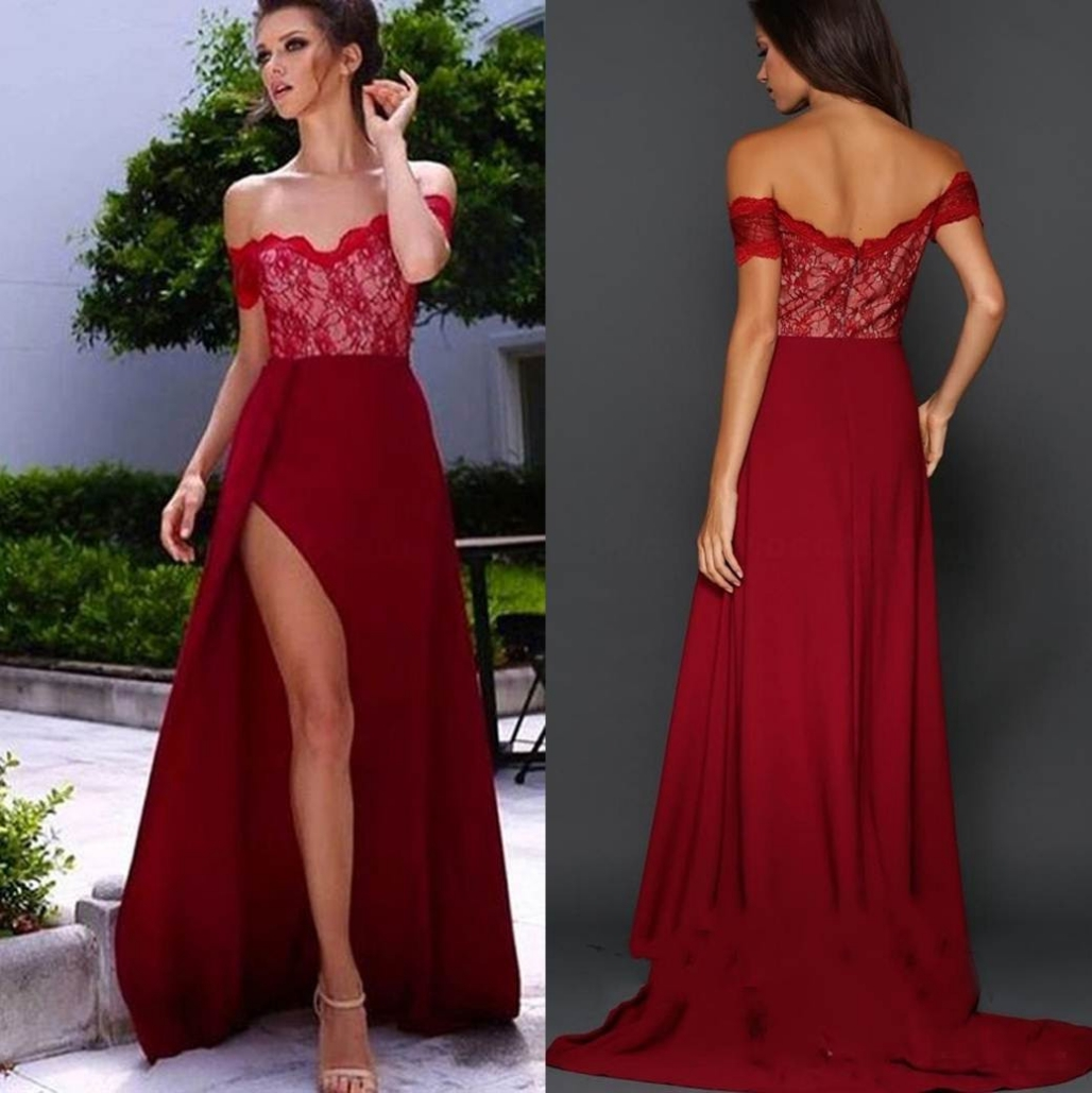 7ffbf918e4da3 Custom Made Red Off-Shoulder Neck Lace Prom Dress with Scalloped Detailing  and High Split