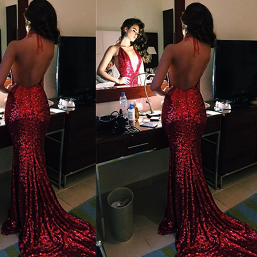 Sexy Red Sequins Backless Trumpet/Mermaid Prom Dresses 2017