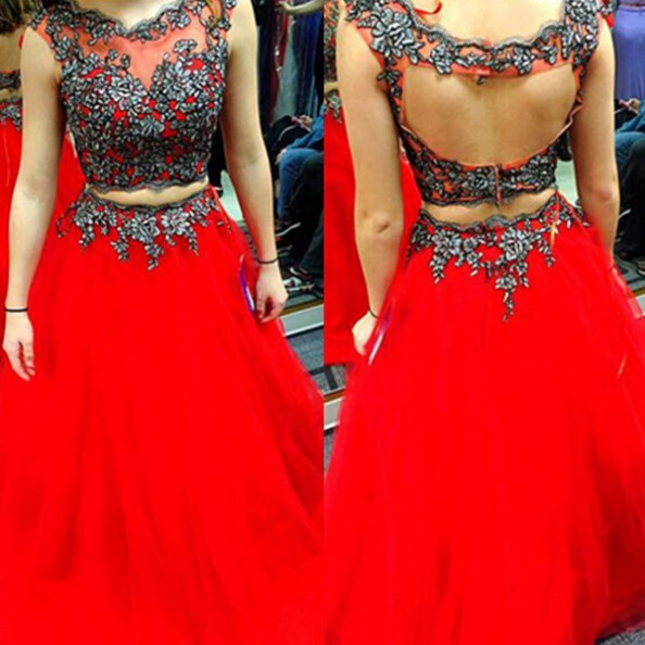 Red Long A-Line Embroidery Two Pieces Satin Prom Dresses 2017