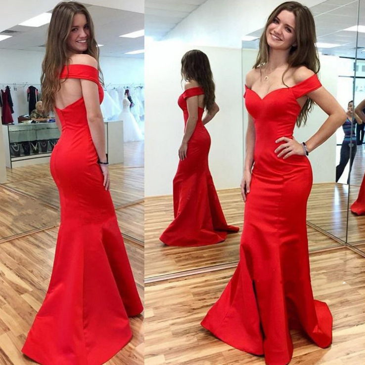 Red Off-the-Shoulder Mermaid Satin Prom Dresses 2017