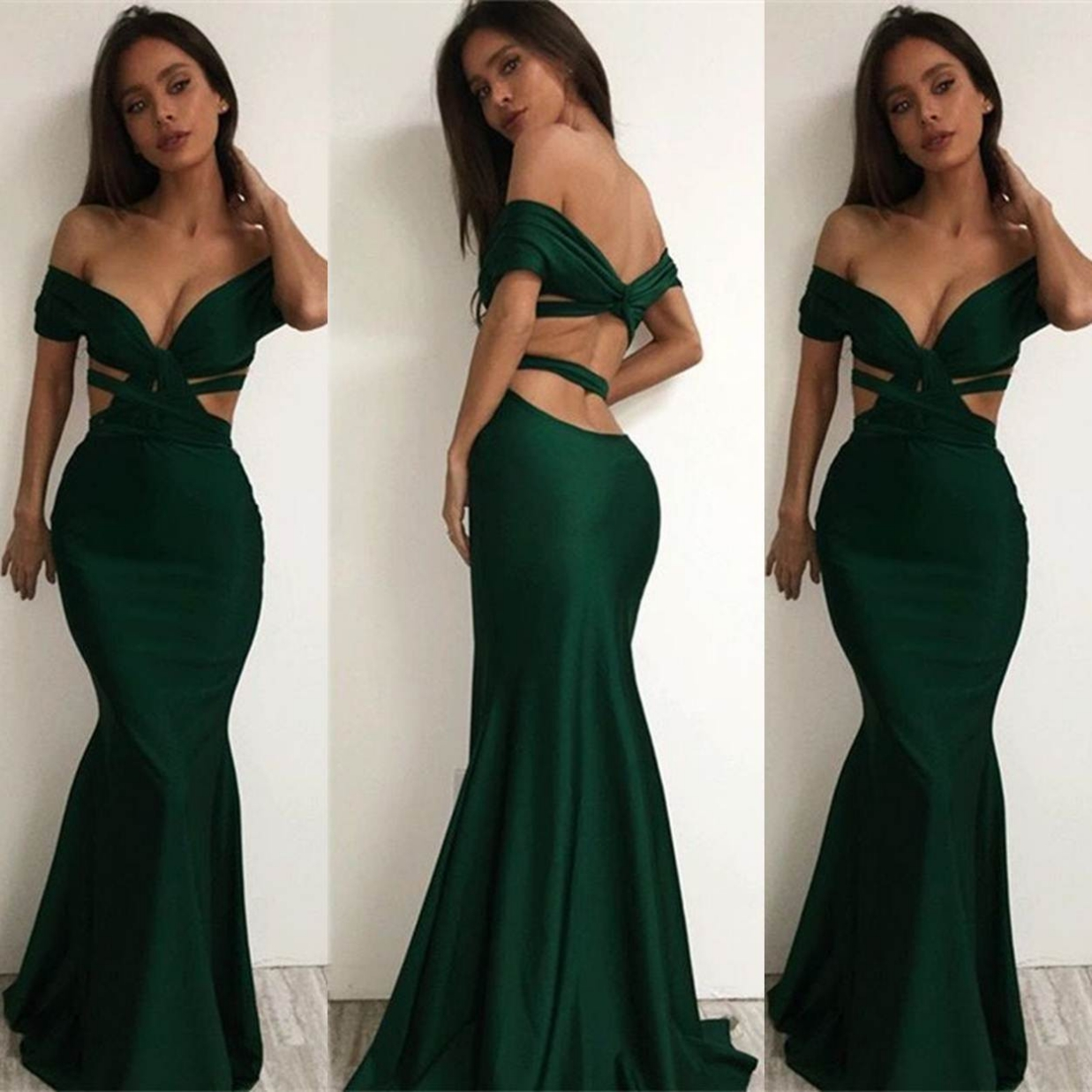 Sexy Off-the-Shoulder Trumpet Satin Prom Dresses 2017