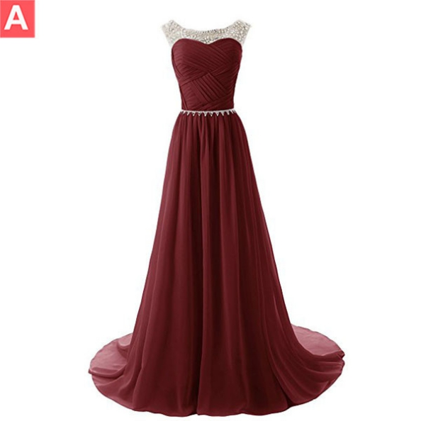 Red Crystal Ruching Chiffon Prom Dresses 2017