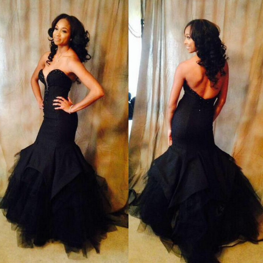 Black Sweetheart Natural Backless Mermaid Tulle Prom Dresses 2017