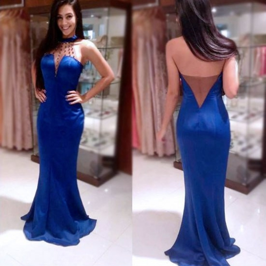 Blue Beading Halter Mermaid Stretch Satin Prom Dresses 2017