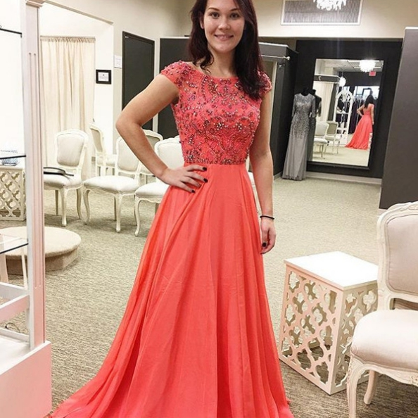Red Capped Sleeves Beading A-line Chiffon Prom Dresses 2017