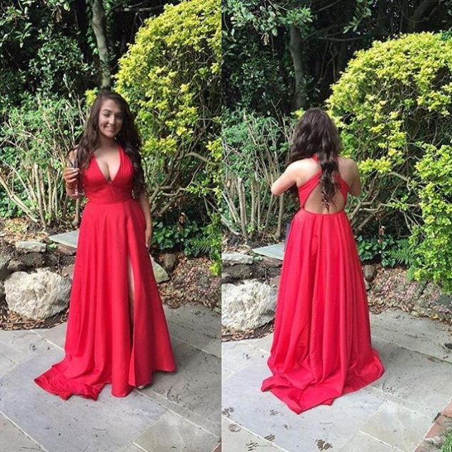 Red Empire Waist Front-Slit Satin Prom Dresses 2017