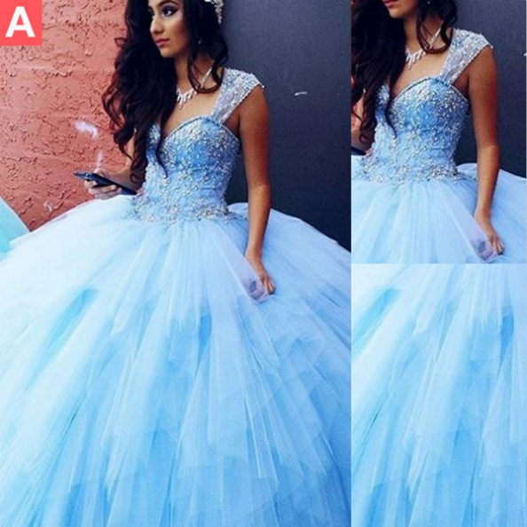 Blue Queen Anne Ball Gown Tulle Prom Dresses 2017