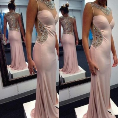 Sheath/Column V-Neck Sleeveless Sweep/Brush Train Prom Dresses 2017