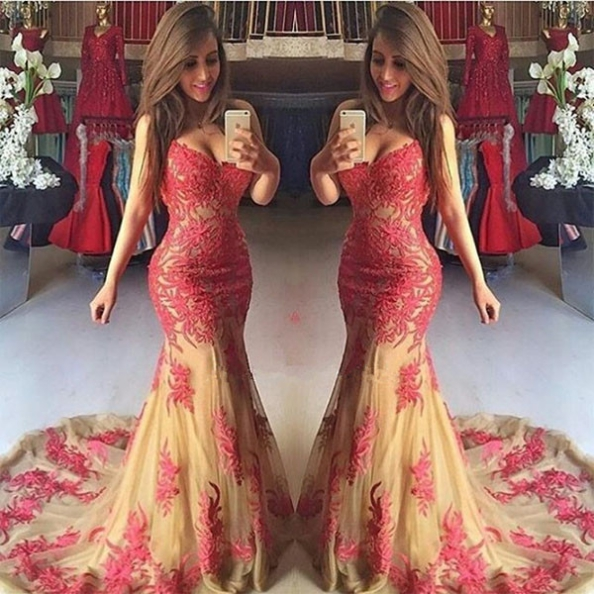 Red Sexy Appliques Sweetheart Mermaid Tulle Prom Dresses 2017